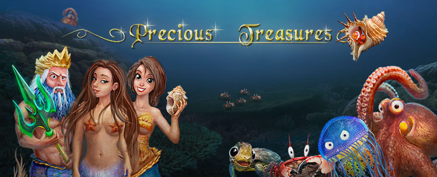 Fish, turtles, octopuses, and fantastic creatures such as sensual sirens and the great Poseidon itself, share a place within the enthralling world of Precious Treasures.