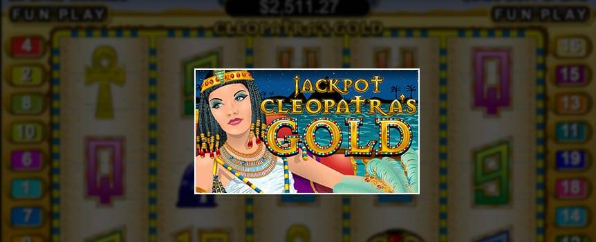 Get to know the Queen of Ancient Egypt and her most prized possessions in the 5-Reel online Slot, Cleopatra's Gold. Travel to ancient Egypt, explore Cleopatra's riches and try your luck at pocketing all her gold. Line up Cleopatra's treasures on any of the 20 pay lines to win. Play Our Casino's online casino game, Cleopatra's Gold, for your chance to experience the power, fame and riches of ancient Egypt's most notorious woman.